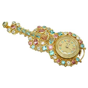 Vintage Cello Violin Bass Pin Watch With Pink And Blue Stones Cyma  17 Jewel Lapel Watch
