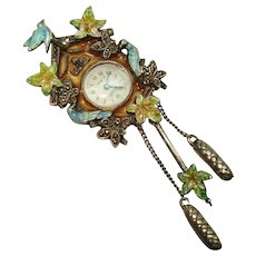 Enameled Vintage Sterling Silver Cuckoo Clock Lapel Watch