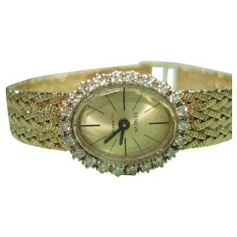 14Kt Gold Diamond Ladies Geneva Wristwatch 21 Jewel Mechanical Professionally Serviced