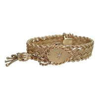 14Kt Gold Geneva Ladies Vintage Flip Top Wristwatch Braided Mesh 14Kt Gold Bracelet