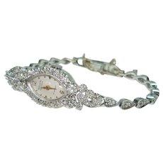 Antique Diamond 14 kt Gold Ladies Gruen Wristwatch Matching Diamond Bracelet Band Serviced