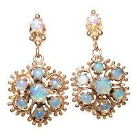 Vintage 14Kt Gold Jelly Opal Flower Pierced Post Style Dangling Drop Earrings