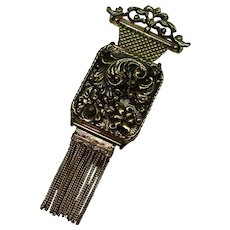 Vintage Ornate Music Box Pin Brooch Switzerland Breitler