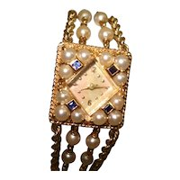 14 Kt Gold Pearl and Sapphire Wristwatch with Pearl and 14 Kt Gold Rope Bracelet Band