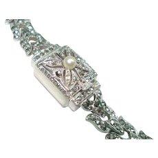 Carl Bucherer 800 Silver Marcasite Flip Top Pearl Peek-a-boo Wristwatch