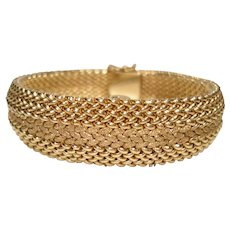 14Kt Gold Ladies Hidden Peek a Boo Style Bangle Bracelet Wristatch