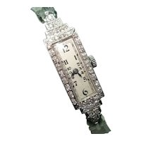 Art Deco Platinum Diamond Ladies Wristwatch Professionally Serviced 1/3 CTTW 17 Jewel Swiss
