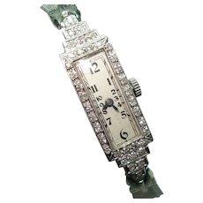 Art Deco Platinum Diamond Ladies Wristwatch Professionally Serviced 1/3 CTTW 17 Jewel Swiss