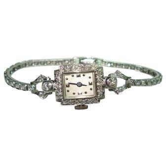 Art Deco Platinum 1.5 Ct Diamond Concord Wristwatch and Matching Platinum Diamond Band  Professionally Serviced