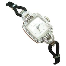 Platinum Diamond Vintage Ladies Hamilton Wristwatch