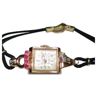 14 KT Rose Gold Ruby Diamond Ladies Vintage  Wristwatch Manual Wind Professionally Serviced