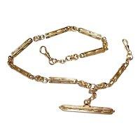 Antique Victorian Ornate 14kt Gold Pocket Watch  Chain T-Bar Swivel End