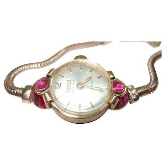 18Kt Rose Gold Tapered Baguette Ruby Ladies Wristwatch 14Kt Gold Snake Bracelet Band  Serviced