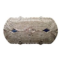 Antique Filigree 14Kt Gold DiamondBlue Sapphire Pin Brooch