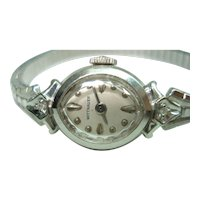 14 Kt White Gold Diamond Wittnauer Ladies Vintage Wristwatch