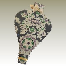 Silk Paisley Covered Bellows Shaped Needlecase c1840