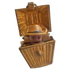 Tiny Gilt Basket With Surprise Inside c1915
