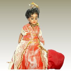 * Hold For S *Barefoot All Bisque Glass Eyed Mulatto Doll French Market c1900