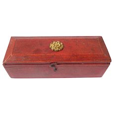 Regency Red Leather Sewing Box c1820