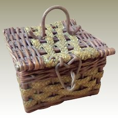 Small Silk Lined Sewing Basket c1910