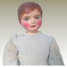 Prim Doll Handpainted Face Cloth Body c1915