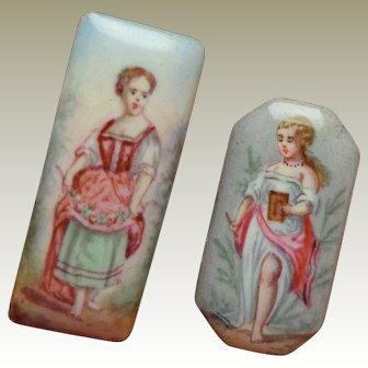 Handpainted Enamel Miniature Plaques c1860