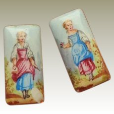 Tiny Handpainted Enamel Plaques c1860
