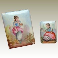 Miniature Hand Painted Enamel Plaques c1860