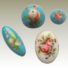 Tiny Floral Handpainted Enamels c1860