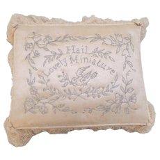 Babies Birth Pin Cushion Cream Silk c1840