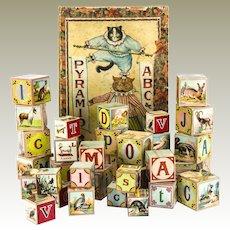 German Cat Chromolithograph Pyramid ABC & Picture Blocks c1910