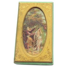 Unusual Needle Box Gilt Framed Picture Lid 1840's