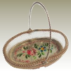 Reverse Painted Wire Basket c1860