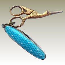 Miniature Stork Scissors & Enamel Pen Knife c1910