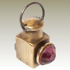 Miniature Brass Stone Set Lantern c1900