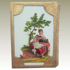 Small Double Sided Eglomise Sewing Box c1840