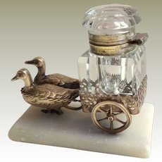 Antique French Palais Royal Figural Inkwell Ducks Pulling Cart
