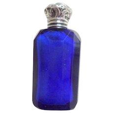 Silver Top Blue Glass Scent Bottle HM 1905