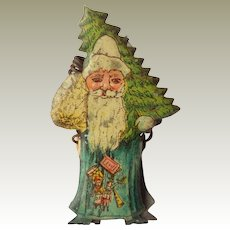 Lithographed Father Christmas Santa Candle Clip For Tree c1910