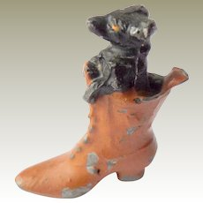 Cold Painted Dachshund In Boot c1915