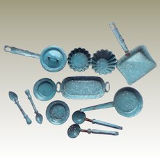Dolls Miniature Granite Ware Enamel For Kitchen