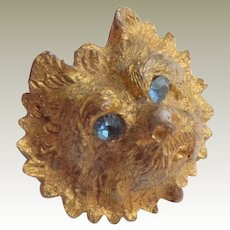 Small Terrier Head Brooch Gilt Metal c1915