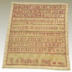 Small Redware Sampler E A Hudson 1822