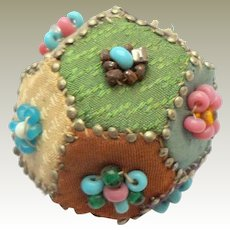 Exquisite Beaded Patchwork pin Cushion c1860