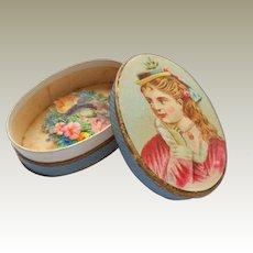 Oval Litho Box With Scraps c1880