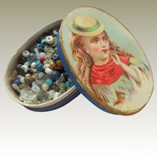 Oval Litho Box With Beads c1880