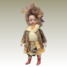 French All Bisque Lilliputian Doll All Original Costume c1915