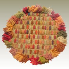 Circular Needlepoint Tufted Rug For Dolls House c1880