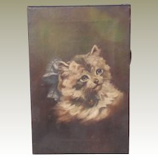 Fluffy Kitten With Bell Oil Painting Dated 1921