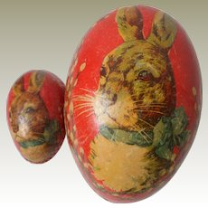 Unusual Double Rabbit Egg Large & Small c1930